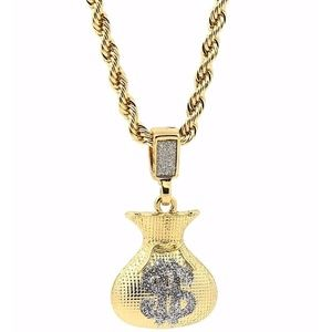 "Other - 14k Gold Cash Bag $ Pendant 24""Rope Chain Necklace"